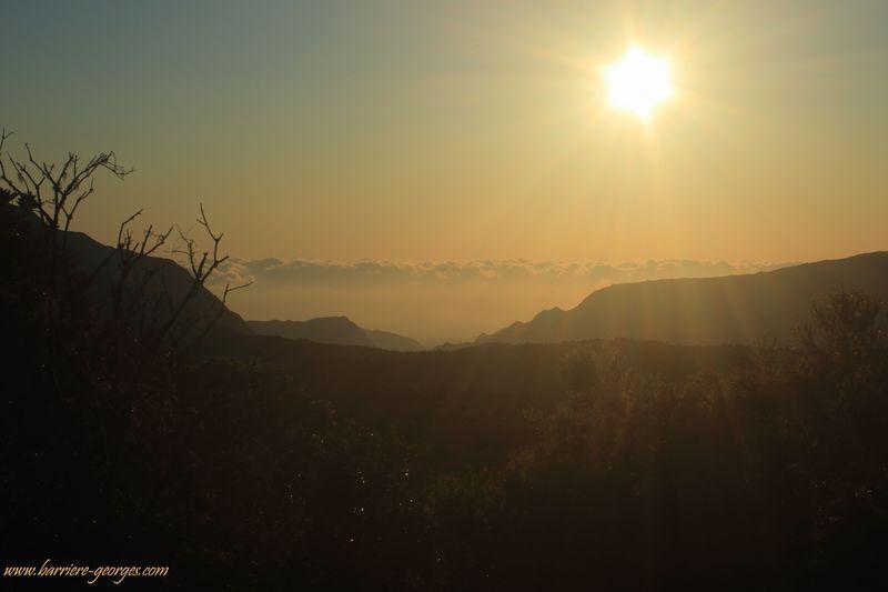 6h15 du matin et le soleil pointe sur la foret de Bélouve